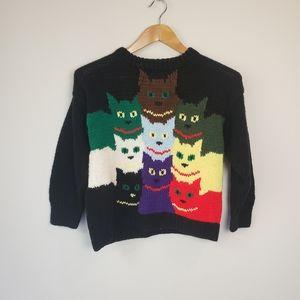 Vintage Cat Sweater Handknit Unisex Boy Girl 80s